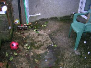 Dirty concrete yard before presurre washing
